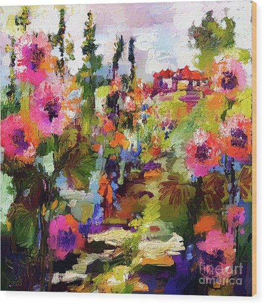 Hollyhock Garden Path Modern Impressionism Wood Print