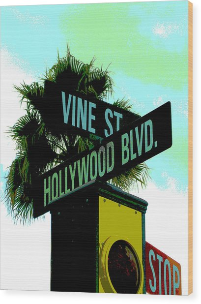 Hollywood And Vine Wood Print by Audrey Venute