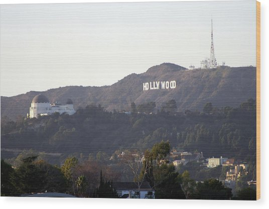 Hollywood Hills And Griffith Observatory Wood Print