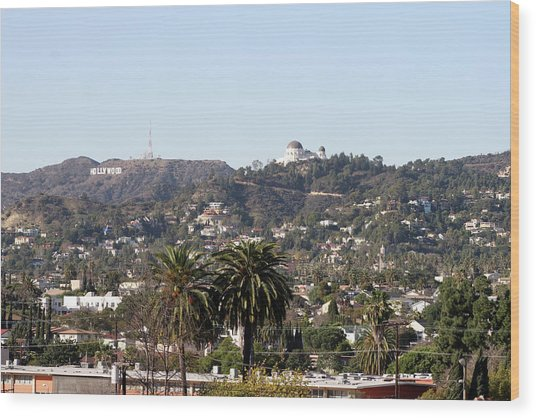 Hollywood Hills From Sunset Blvd Wood Print
