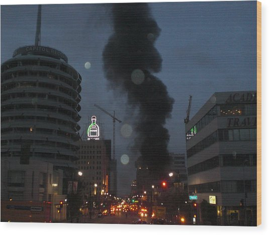 Hollywood Is Burning Wood Print by Roman Lezo