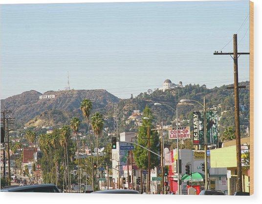 Hollywood Sign Above Sunset Blvd. Wood Print