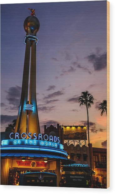 Hollywood Studios Sunset Wood Print