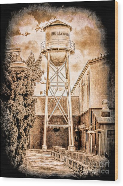 Hollywood Water Tower Wood Print