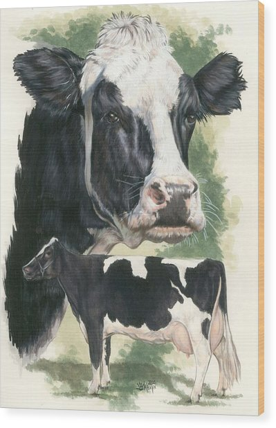 Wood Print featuring the mixed media Holstein by Barbara Keith