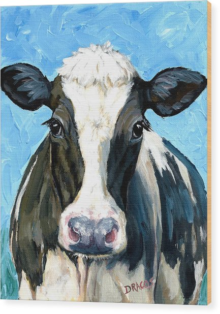 Holstein Cow 1 Head And Chest Wood Print