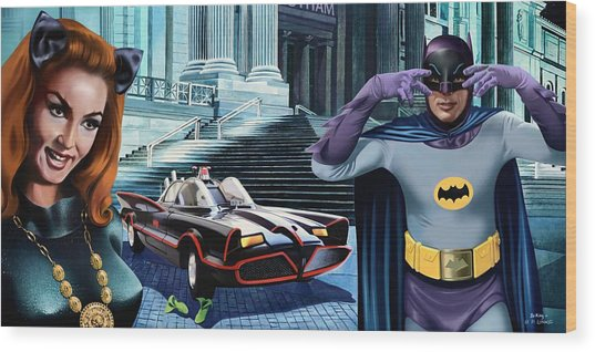 Holy Catastrophe - Julie Newmar And Adam West - 1966 Wood Print by Jo King