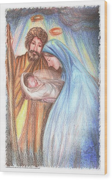 Holy Family - Christian - Catholic Painting Wood Print by Remy Francis
