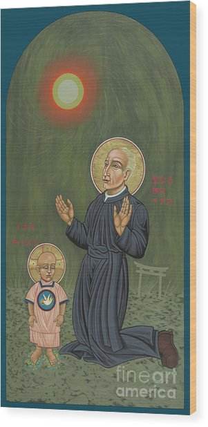 Holy Father Pedro Arrupe, Sj In Hiroshima With The Christ Child 293 Wood Print