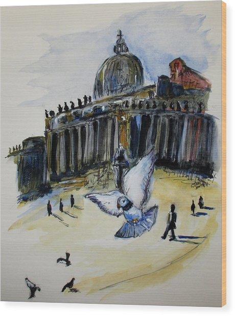 Holy Pigeons Wood Print