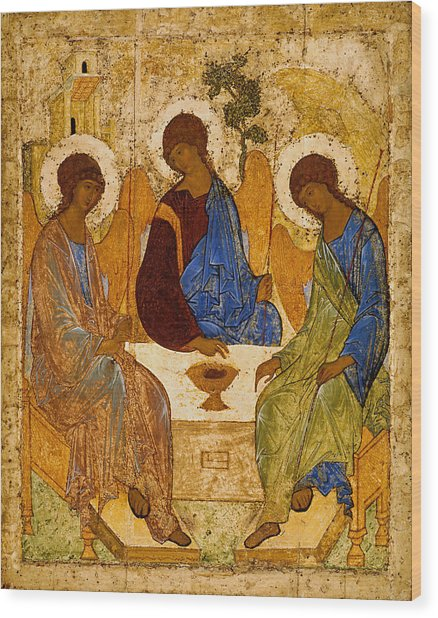 Wood Print featuring the painting Holy Trinity. Troitsa by Andrei Rublev