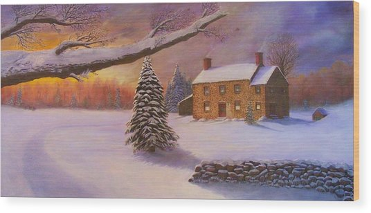 Home For The Holidays Wood Print by Jean LeBaron