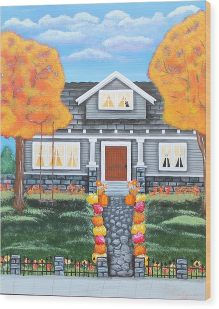Home Sweet Home - Comes Autumn Wood Print
