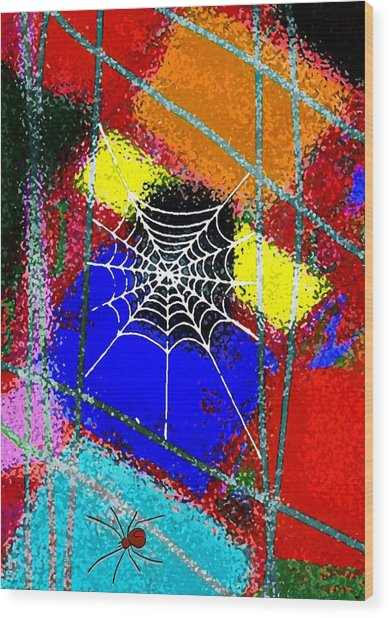 Home Sweet Spider Home Wood Print by Mimo Krouzian