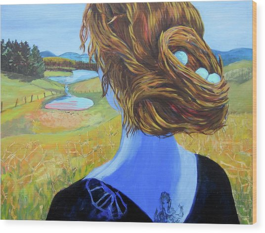 Home With Nest In Hair Wood Print