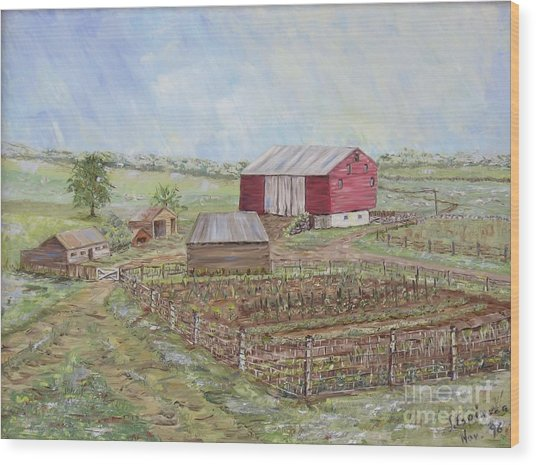Homeplace - The Barn And Vegetable Garden Wood Print by Judith Espinoza