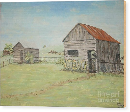 Homeplace - The Smokehouse And Woodhouse Wood Print by Judith Espinoza