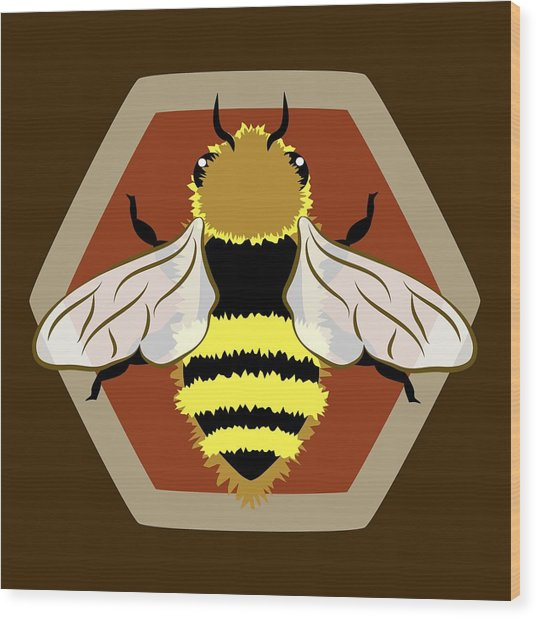 Honey Bee Graphic Wood Print