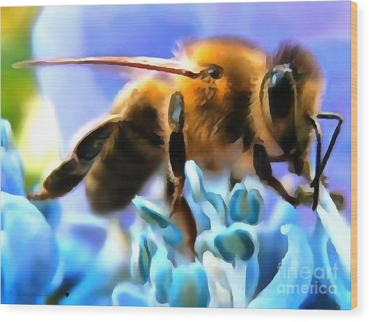 Honey Bee In Interior Design Thick Paint Wood Print