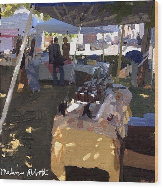 Honey Tent At Farmer's Market Wood Print