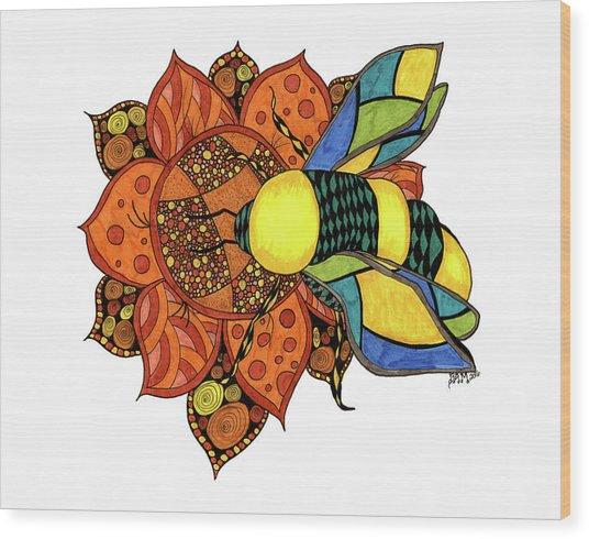 Honeybee On A Flower Wood Print
