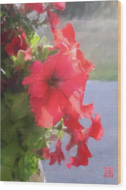 Hong Hua Red Flowers Wood Print
