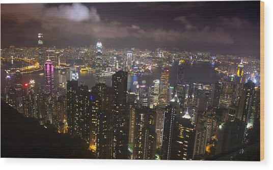 Hong Kong At Night Wood Print