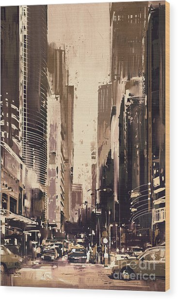 Wood Print featuring the painting Hong-kong Cityscape Painting by Tithi Luadthong
