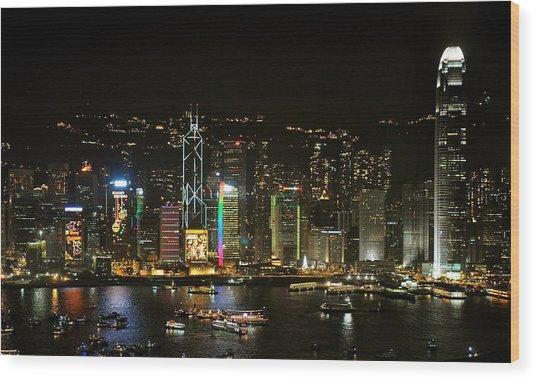 Hong Kong On A December Night Wood Print