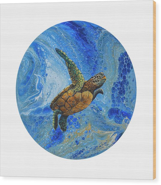 Wood Print featuring the painting Honu Amakua by Darice Machel McGuire
