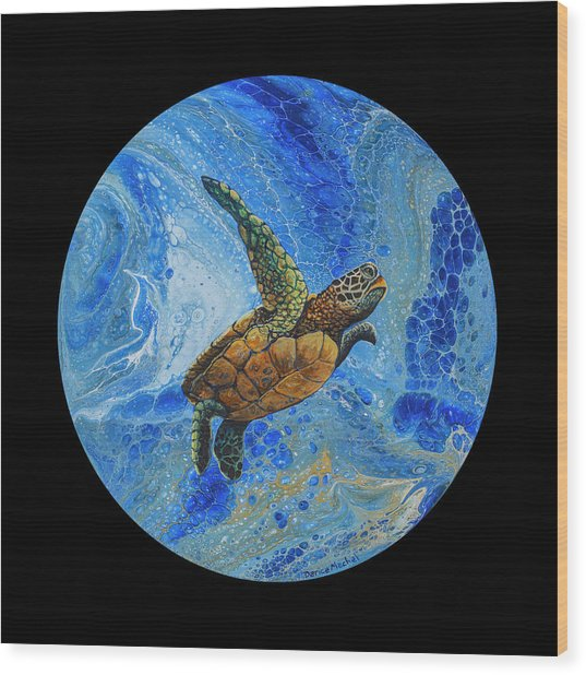 Wood Print featuring the painting Honu Amakua On Black by Darice Machel McGuire