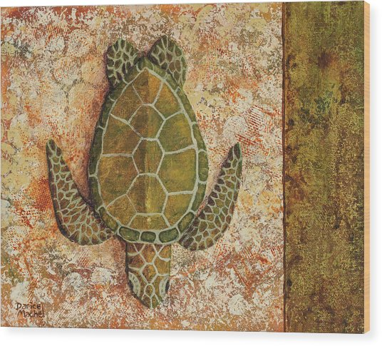 Wood Print featuring the painting Honu Maui 2 by Darice Machel McGuire