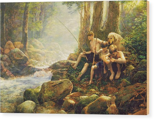 Wood Print featuring the painting Hook Line And Summer by Greg Olsen