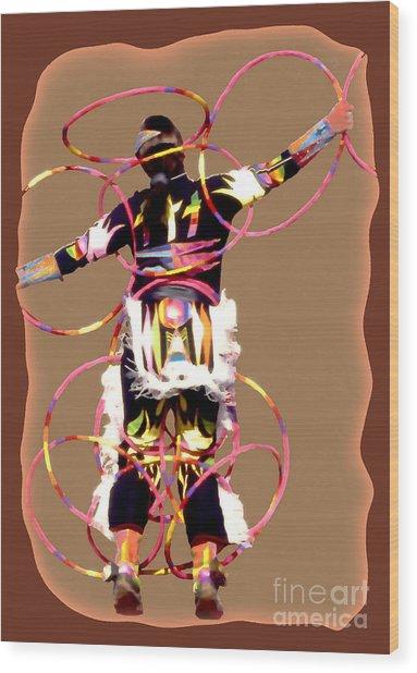 Hoop Dancer 2 Wood Print by Linda  Parker