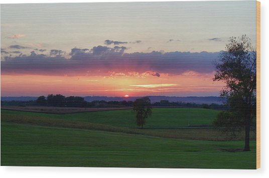 Hoosier Sunset Wood Print