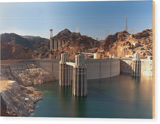 Hoover Dam Wood Print by Melody Watson