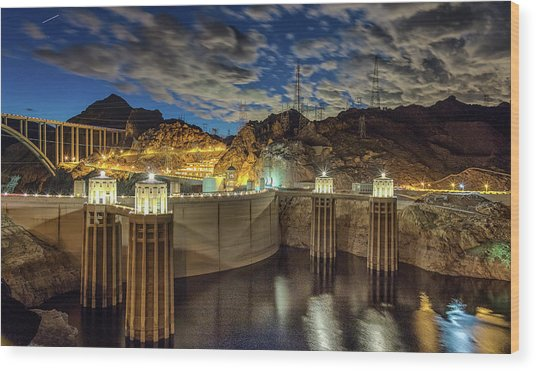 Wood Print featuring the photograph Hoover Dam by Michael Rogers