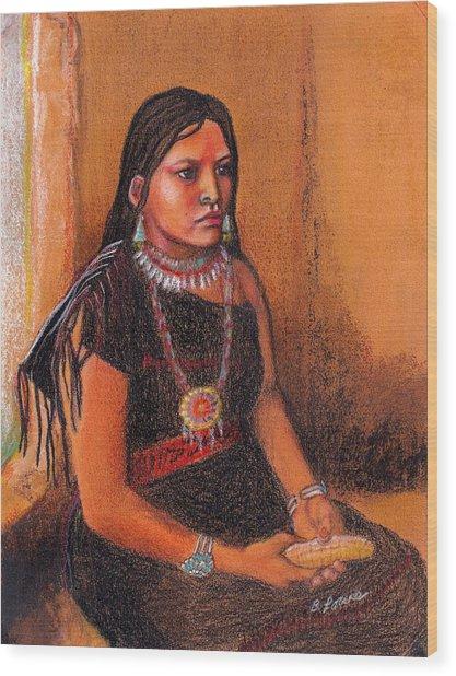 Hopi Girl Wood Print by Barbara Lowe