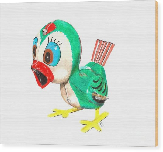 Hopping Billy The Bird Wood Print