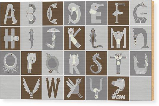 Horizontal Neutral Animal Alphabet Complete Poster Wood Print