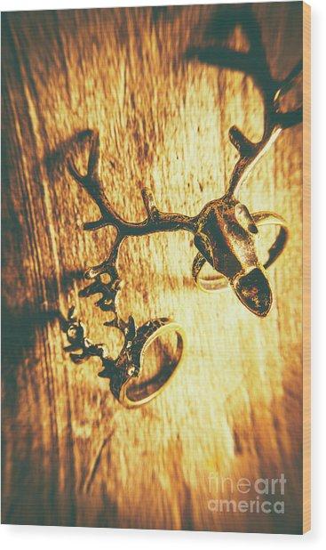 Horned Animal Rings Wood Print