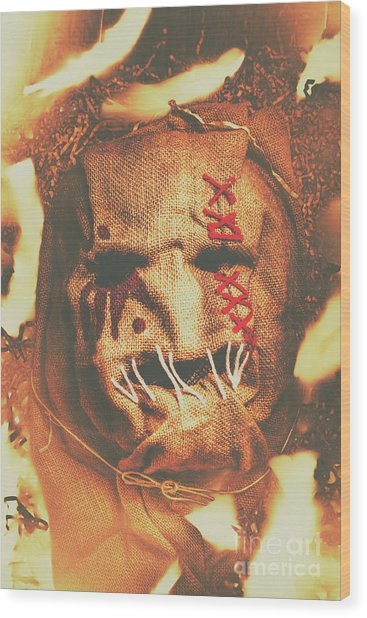 Horror Scarecrow Portrait Wood Print