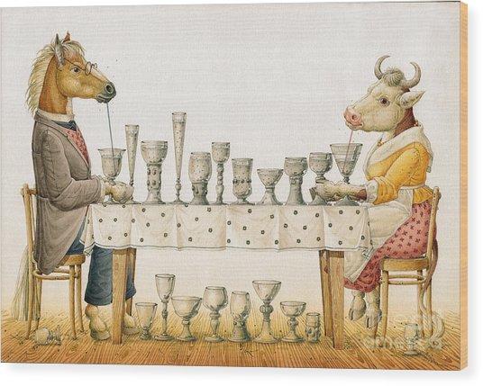Horse And Cow Wood Print by Kestutis Kasparavicius