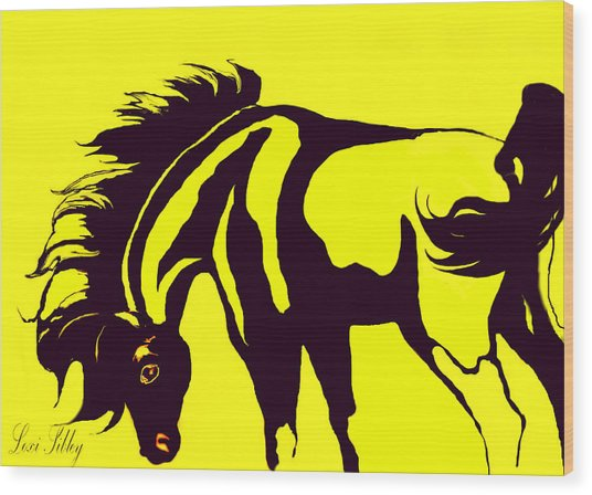 Horse-black And Yellow Wood Print