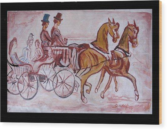 Horse Chariot Wood Print