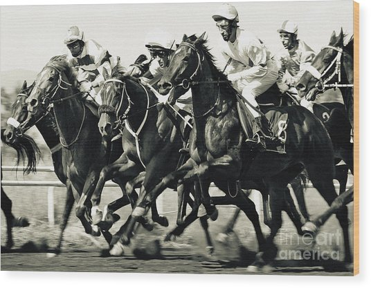 Horse Competition Vi - Horse Race Wood Print