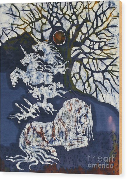 Horse Dreaming Below Trees Wood Print