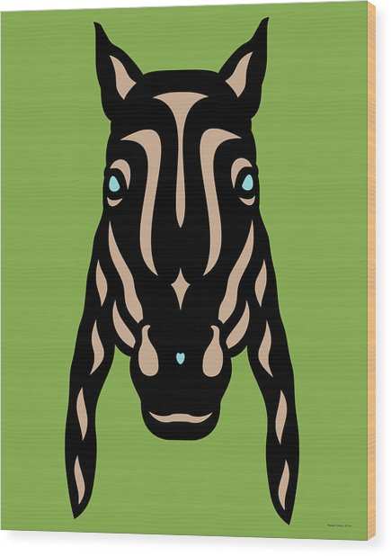 Horse Face Rick - Horse Pop Art - Greenery, Hazelnut, Island Paradise Blue Wood Print