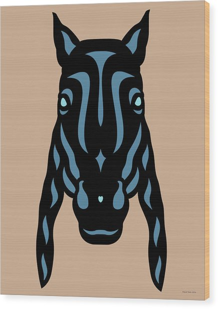 Wood Print featuring the digital art Horse Face Rick - Horse Pop Art - Hazelnut, Niagara Blue, Island Paradise Blue by Manuel Sueess