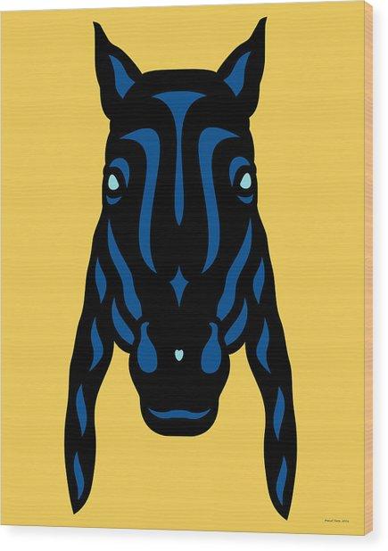 Wood Print featuring the digital art Horse Face Rick - Horse Pop Art - Primrose Yellow, Lapis Blue, Island Paradise Blue by Manuel Sueess
